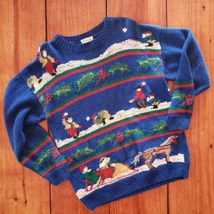 "VTG TALBOT""S Winter Scene Intarsia Sweater XXL"